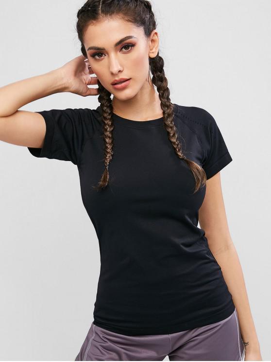 sale Raglan Sleeves Perforated Solid Sports Tee - BLACK S