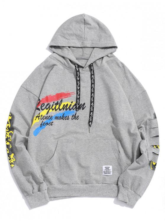 ladies Letter Painting Graphic Ripped Patch Pullover Hoodie - LIGHT GRAY M