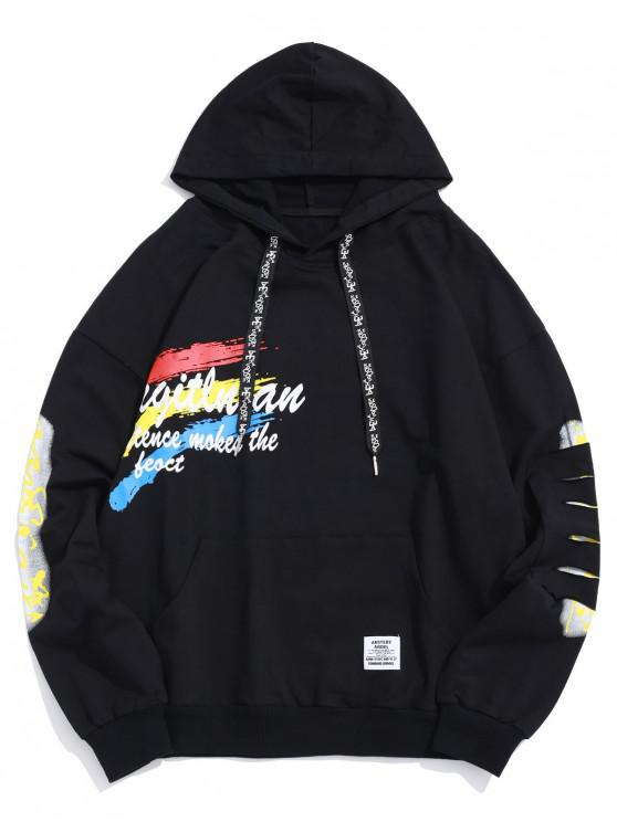 hot Letter Painting Graphic Ripped Patch Pullover Hoodie - BLACK M