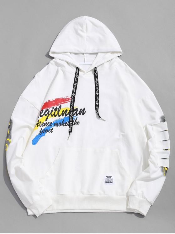 Sudadera con capucha y cremallera Parche rasgado gráfico de pintura de letras - Blanco L