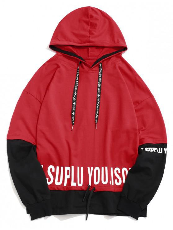 latest Letter Print Contrast Color Spliced Casual Faux Twinset Hoodie - RED XL