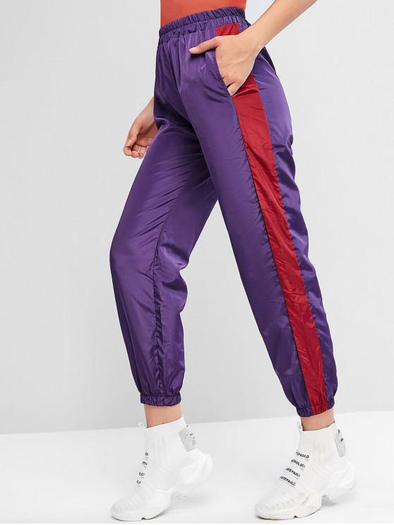 outfits ZAFUL Color Block High Waisted Windbreaker Pants - MEDIUM ORCHID L