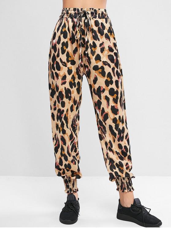 lady Leopard Animal Print Drawstring Pocket Jogger Pants - LEOPARD M
