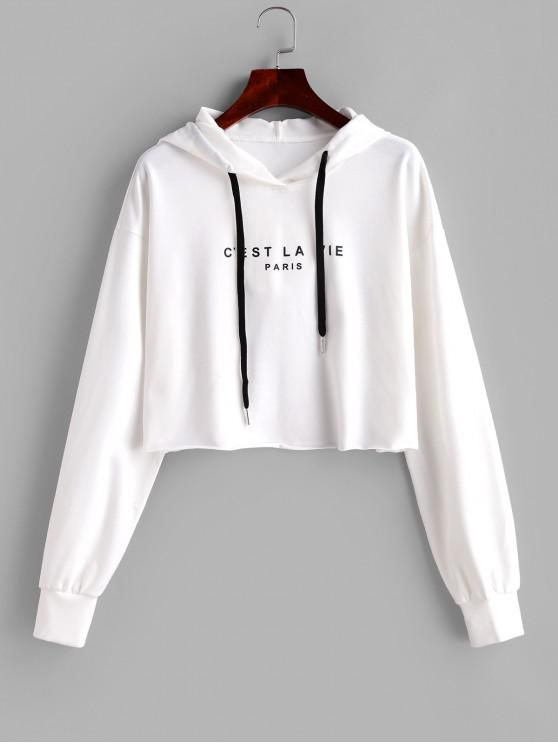 shop ZAFUL PARIS Graphic Crop Hoodie - WHITE L