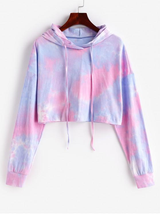 unique ZAFUL Tie Dye Crop Pullover Hoodie - MULTI-B S