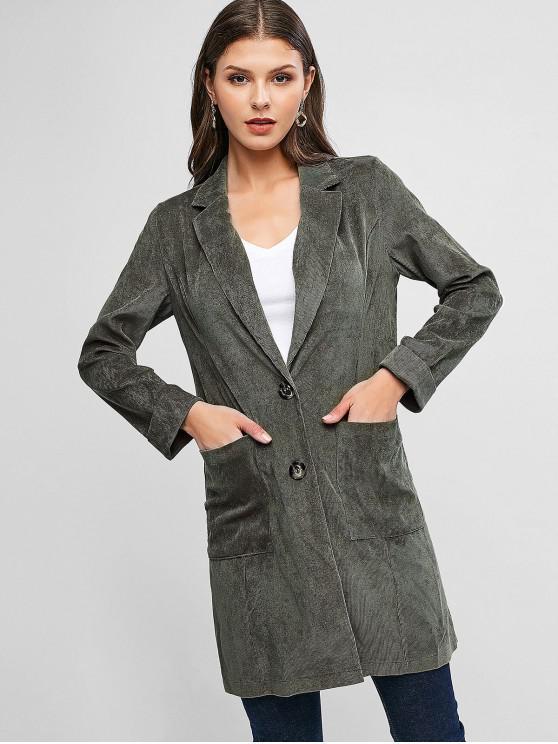 womens Longline Button Up Pockets Corduroy Coat - FERN GREEN XL