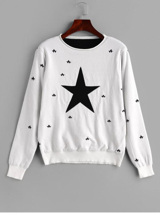 fancy Star Pattern Roll Trim Knitted Sweater - WHITE ONE SIZE