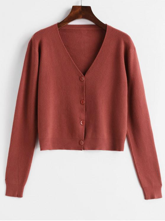 ladies Single Breasted V Neck Knitted Cardigan - CHESTNUT RED ONE SIZE