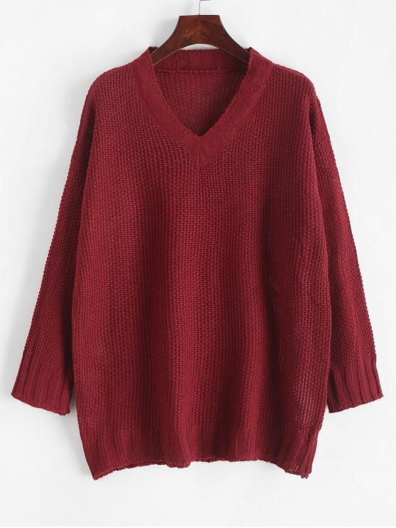 Suéter con cuello en V sólido con hombros descubiertos - Rojo Talla única