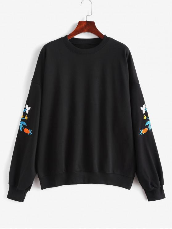 lady Flower Embroidered French Terry Drop Shoulder Sweatshirt - BLACK ONE SIZE