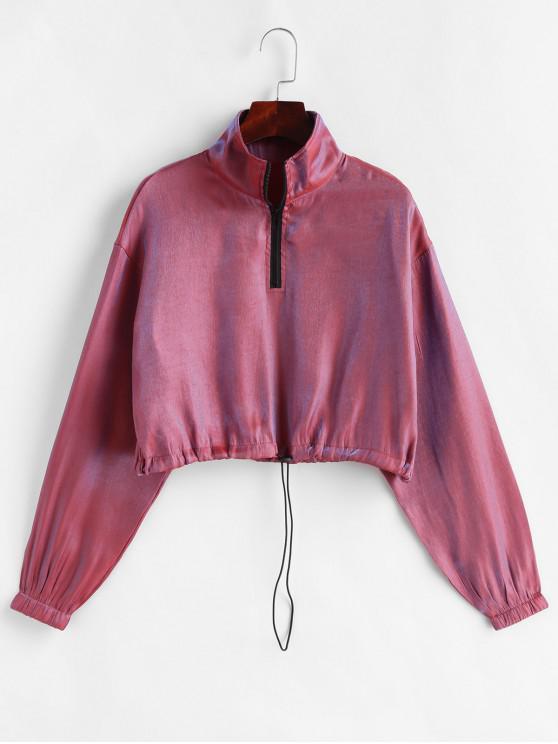 hot Half Zip Iridescent Print Crop Sweatshirt - RED WINE L