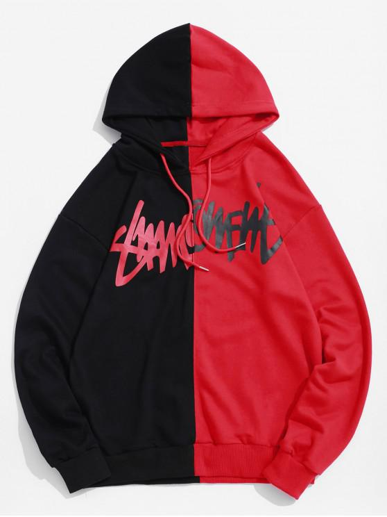shop Two Tone Letter Scratch Print Casual Drawstring Hoodie - RED XL