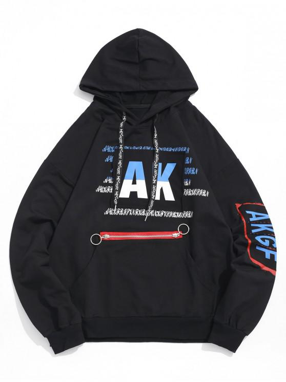 new Letter Graphic Print Ripped Patchwork Kangaroo Pocket Hoodie - BLACK XL