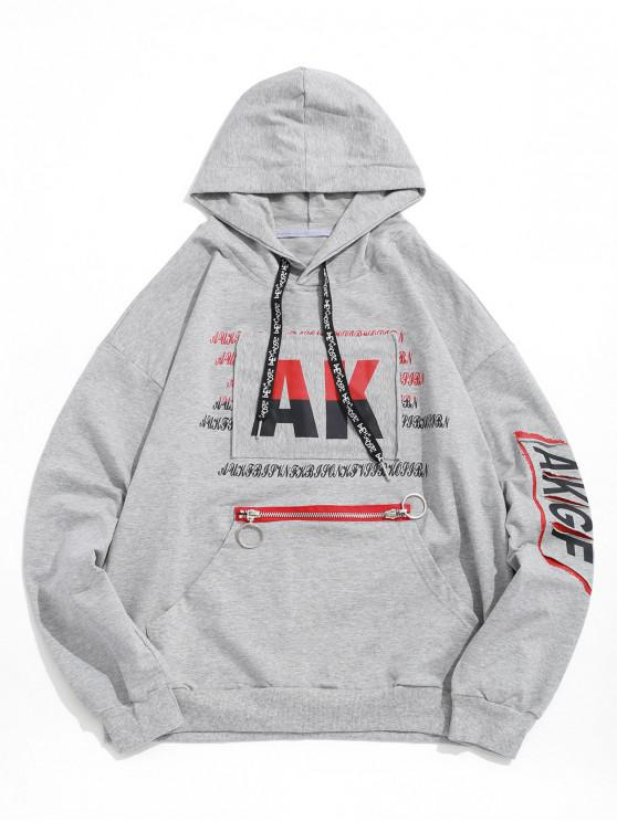 Letter Graphic Print Ripped Patchwork Kangaroo Pocket Sudadera con capucha - Nube Gris XL