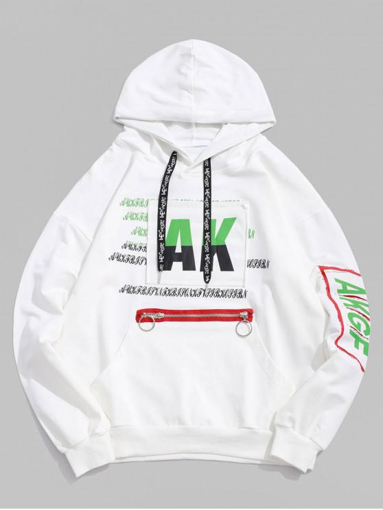 Рваная Толстовка С графическим принтом буквы Карман кенгуру - Белый XL