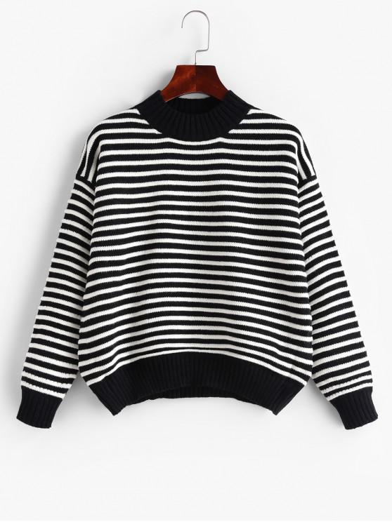Suéter texturizado a rayas con hombros caídos - Negro Talla única