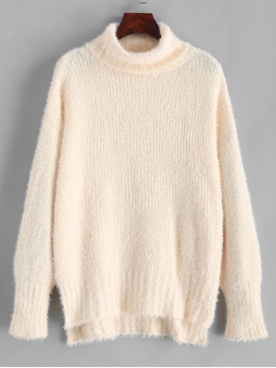 Suéter de cuello alto con abertura lateral y bajo mullido - Blanco Cálido Talla única