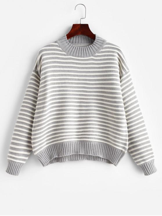 trendy Striped Mock Neck Drop Shoulder Textured Sweater - DARK GRAY ONE SIZE