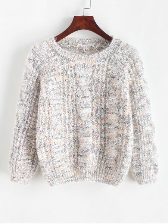 Suéter de cuello redondo de punto abierto y ceñido - Blanco Cálido Talla única