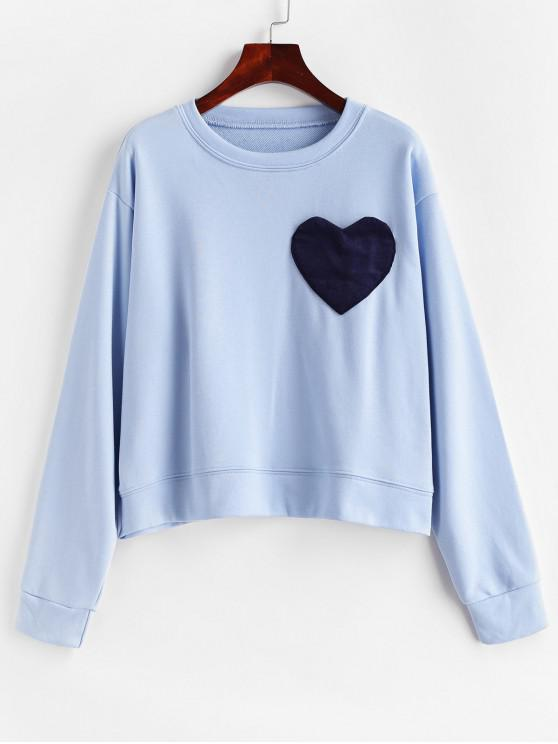 unique Corduroy Heart Pocket French Terry Drop Shoulder Sweatshirt - BLUE GRAY ONE SIZE