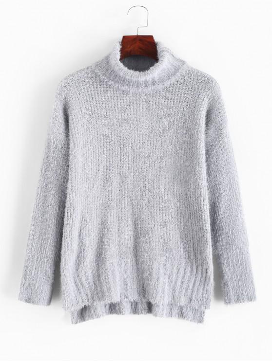Suéter de cuello alto con abertura lateral y bajo mullido - Gris Claro Talla única