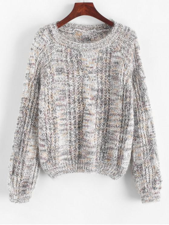 Melierter Pullover mit Offenem Strick und Rundhalsausschnitt - Hellgrau Eine Größe