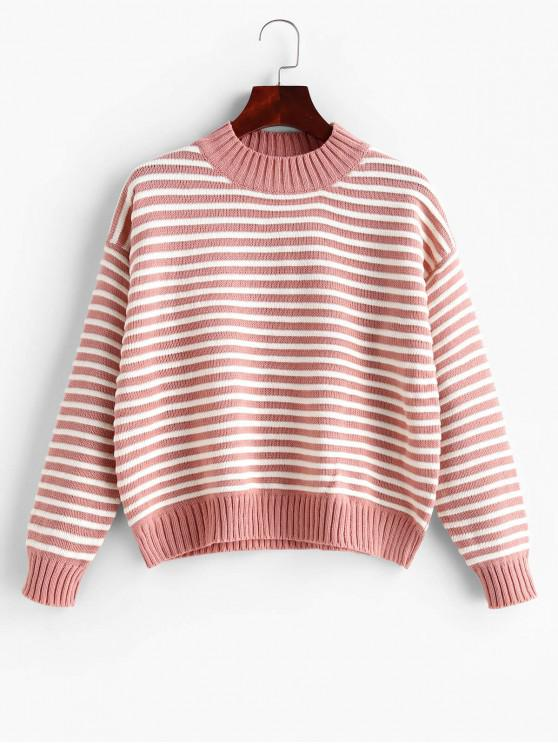 women Striped Mock Neck Drop Shoulder Textured Sweater - PINK ONE SIZE