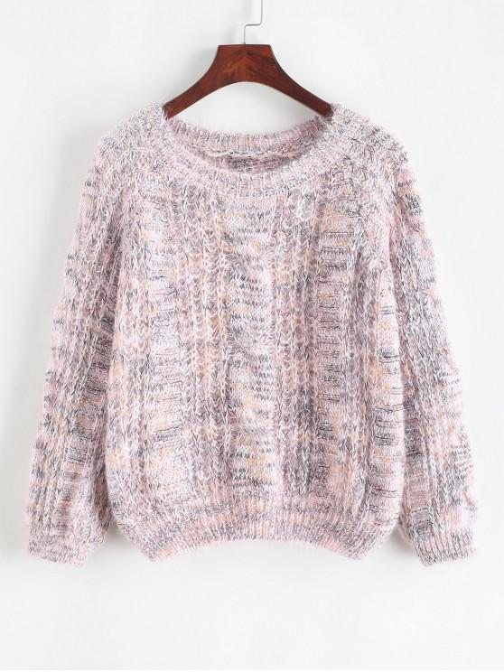 hot Heathered Open Knit Crew Neck Sweater - PINK ONE SIZE