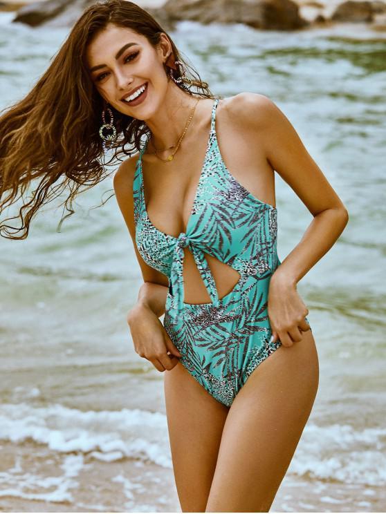 chic ZAFUL Tie Leopard Print Criss Cross One-Piece Swimsuit - SEA TURTLE GREEN XL