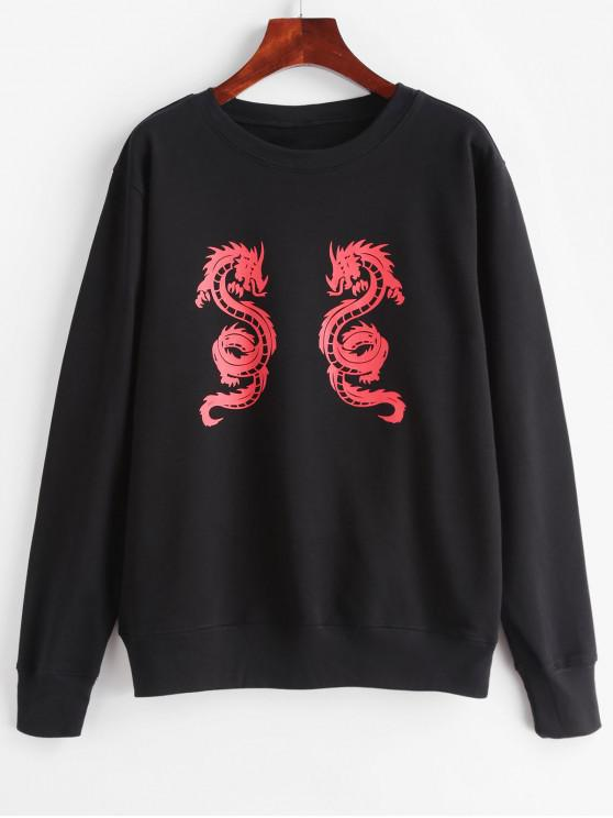 ladies ZAFUL Dragon Graphic French Terry Pullover Sweatshirt - BLACK S