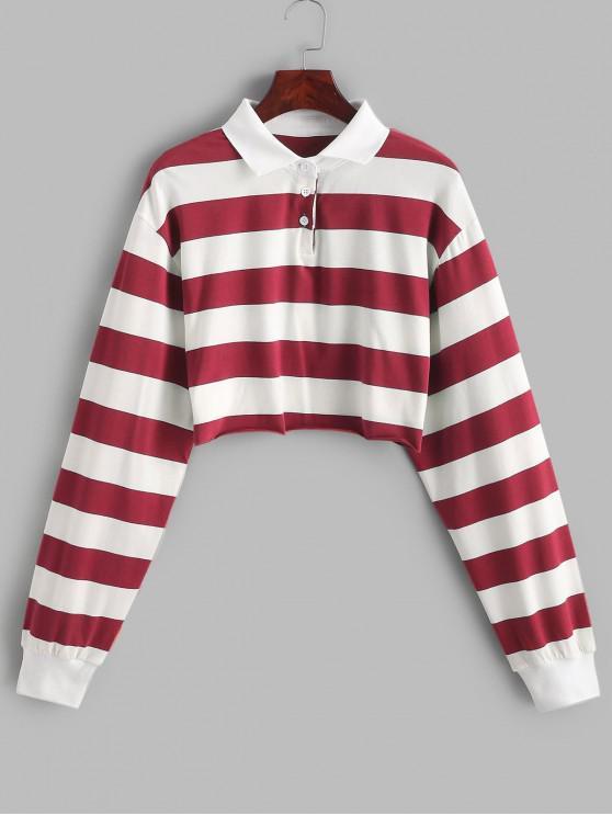 online Contrast Striped Crop Half Button Sweatshirt - MULTI-D S