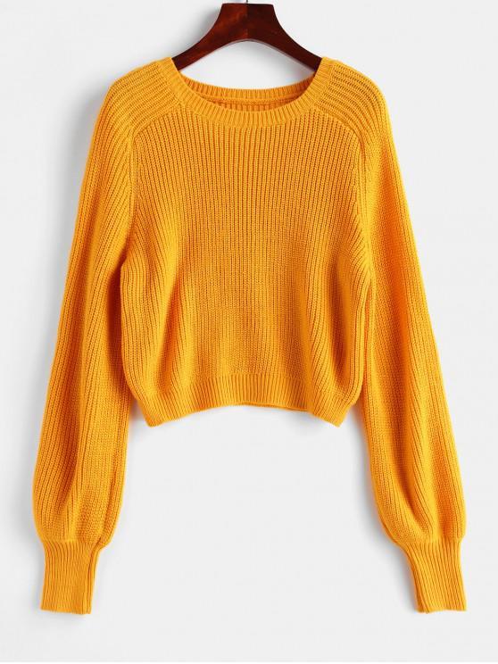womens Raglan Sleeve Crew Neck Pullover Sweater - YELLOW L