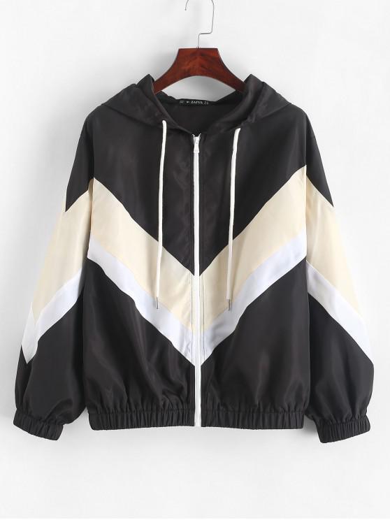 shops ZAFUL Color Block Chevron Front Zip Drawstring Jacket - BLACK L