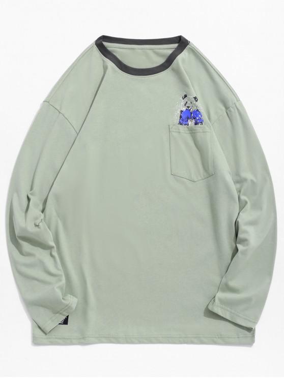 fashion Panda Boxing Print Chest Pocket Tee - DARK SEA GREEN XS