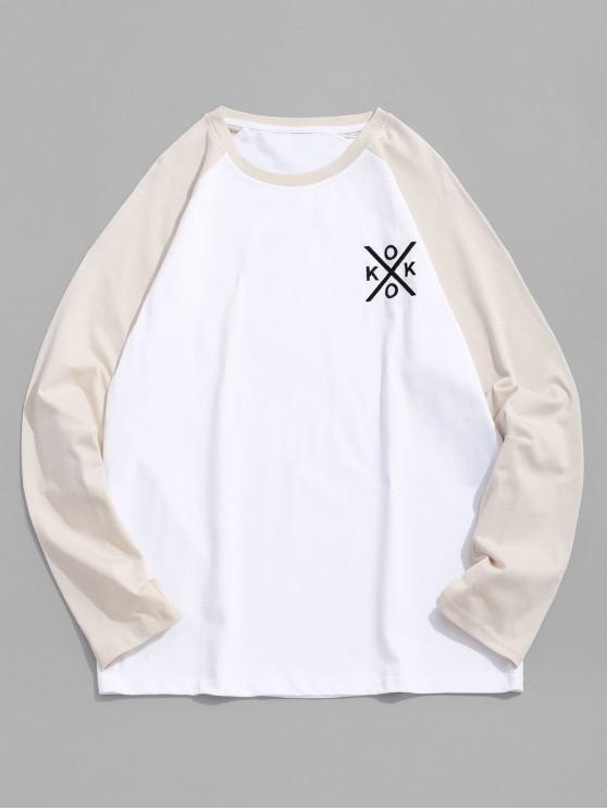 ladies Letter Embroidery Color Block Spliced Raglan Sleeve Tee - BEIGE XL
