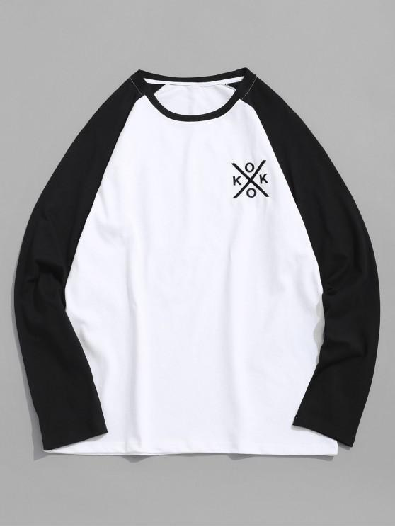 chic Letter Embroidery Color Block Spliced Raglan Sleeve Tee - BLACK M