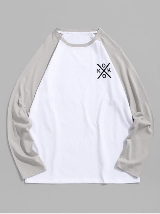 unique Letter Embroidery Color Block Spliced Raglan Sleeve Tee - PLATINUM 2XL