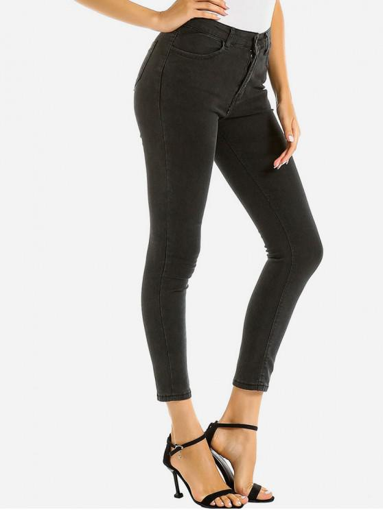 unique Basic Skinny Ninth Jeans - BLACK M