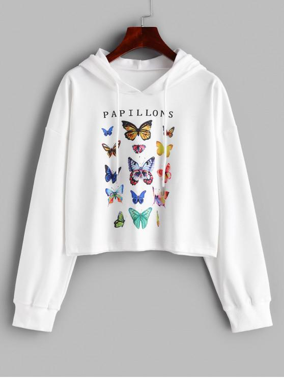 women's Butterfly Letter Graphic Drawstring Loose Hoodie - WHITE S