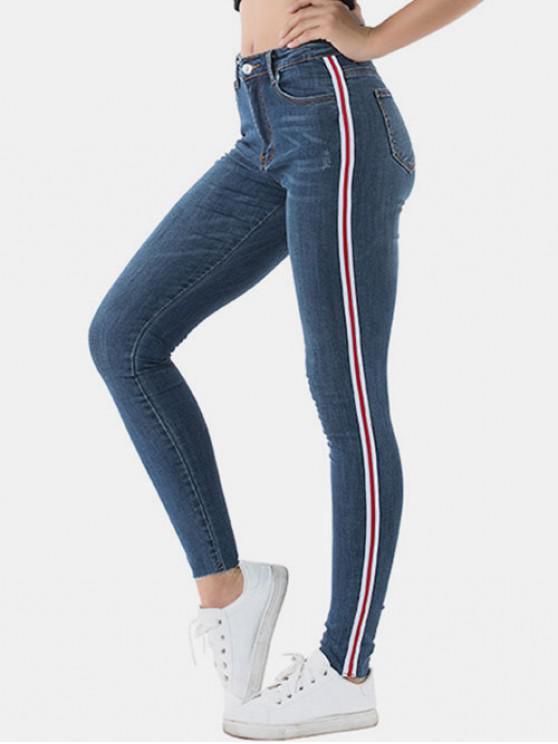 womens Frayed Hem Side Striped Skinny Jeans - BLUE L