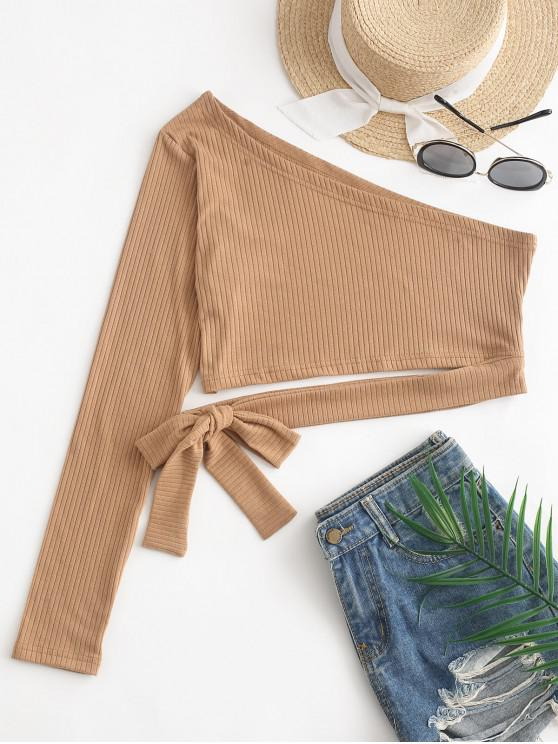 unique Tied One Shoulder Crop Top - TAN XL
