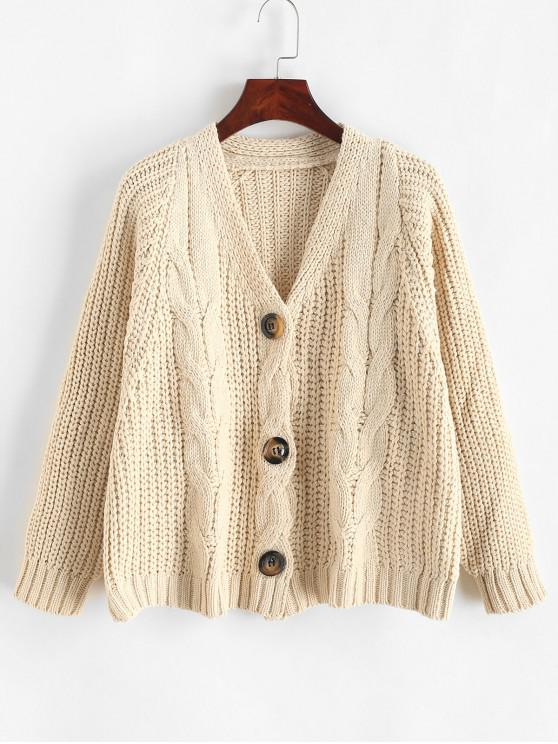 online Buttoned Cable Knit Crop Chunky Cardigan - WARM WHITE ONE SIZE