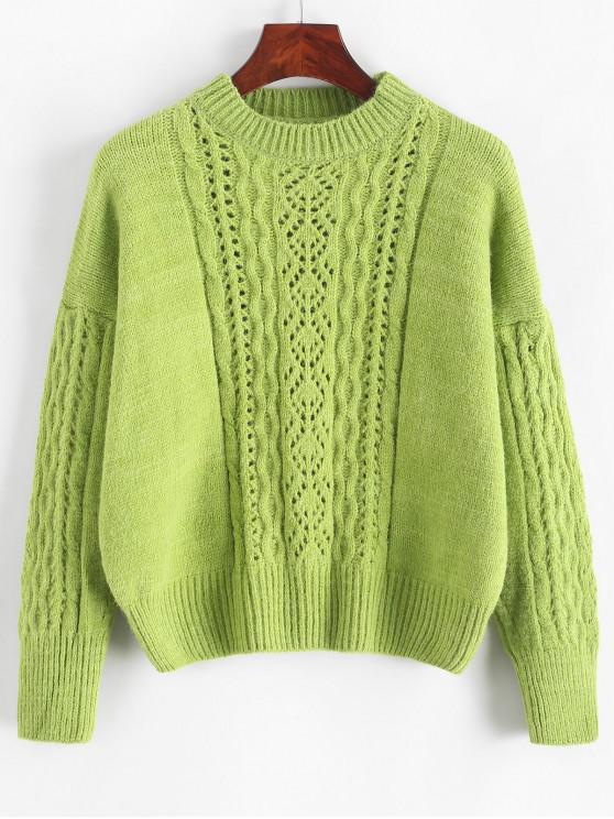 Sólido de color abierto de punto suéter flojo - Verde claro Talla única