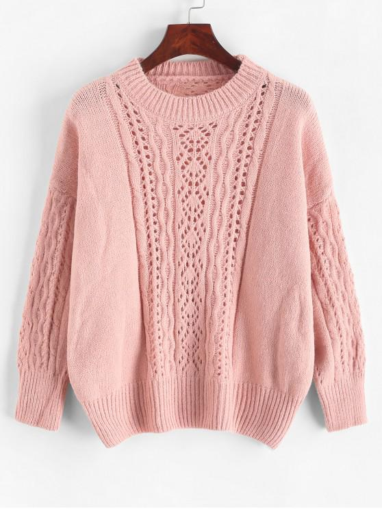 outfits Solid Color Open Knit Loose Sweater - PINK ONE SIZE