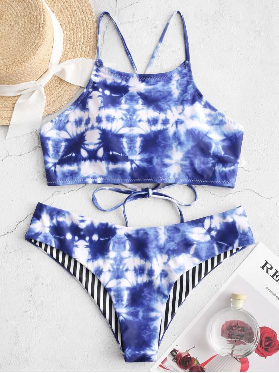 lady ZAFUL Tie Dye Striped Lace Up Cami Bikini Swimsuit - BLUEBERRY BLUE S
