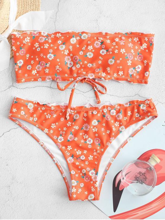 womens ZAFUL Tiny Flower Lace Up Lettuce Trim Bikini Swimsuit - MANGO ORANGE L