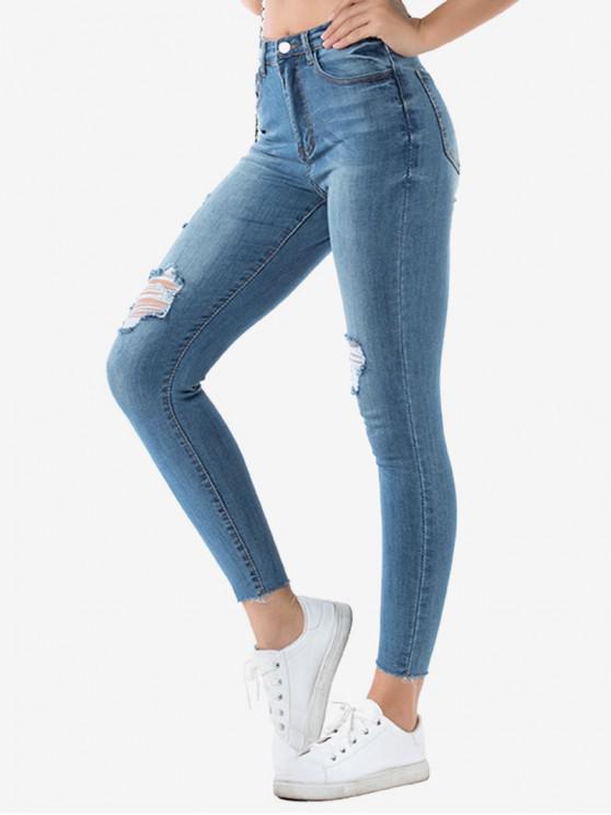 lady Ripped Raw Hem Skinny Jeans - OCEAN BLUE XL