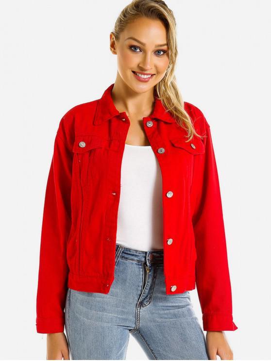 buy Colored Flap Pocket Denim Jacket - ROSSO RED S