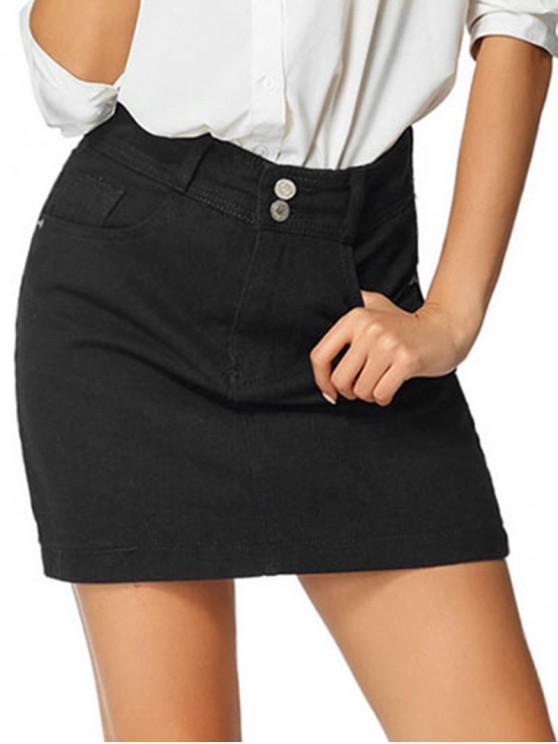 fancy Basic A Line Denim Skirt - BLACK S