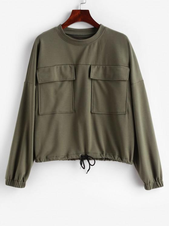 women ZAFUL Flap Pocket Drawstring Drop Shoulder Sweatshirt - ARMY GREEN XL